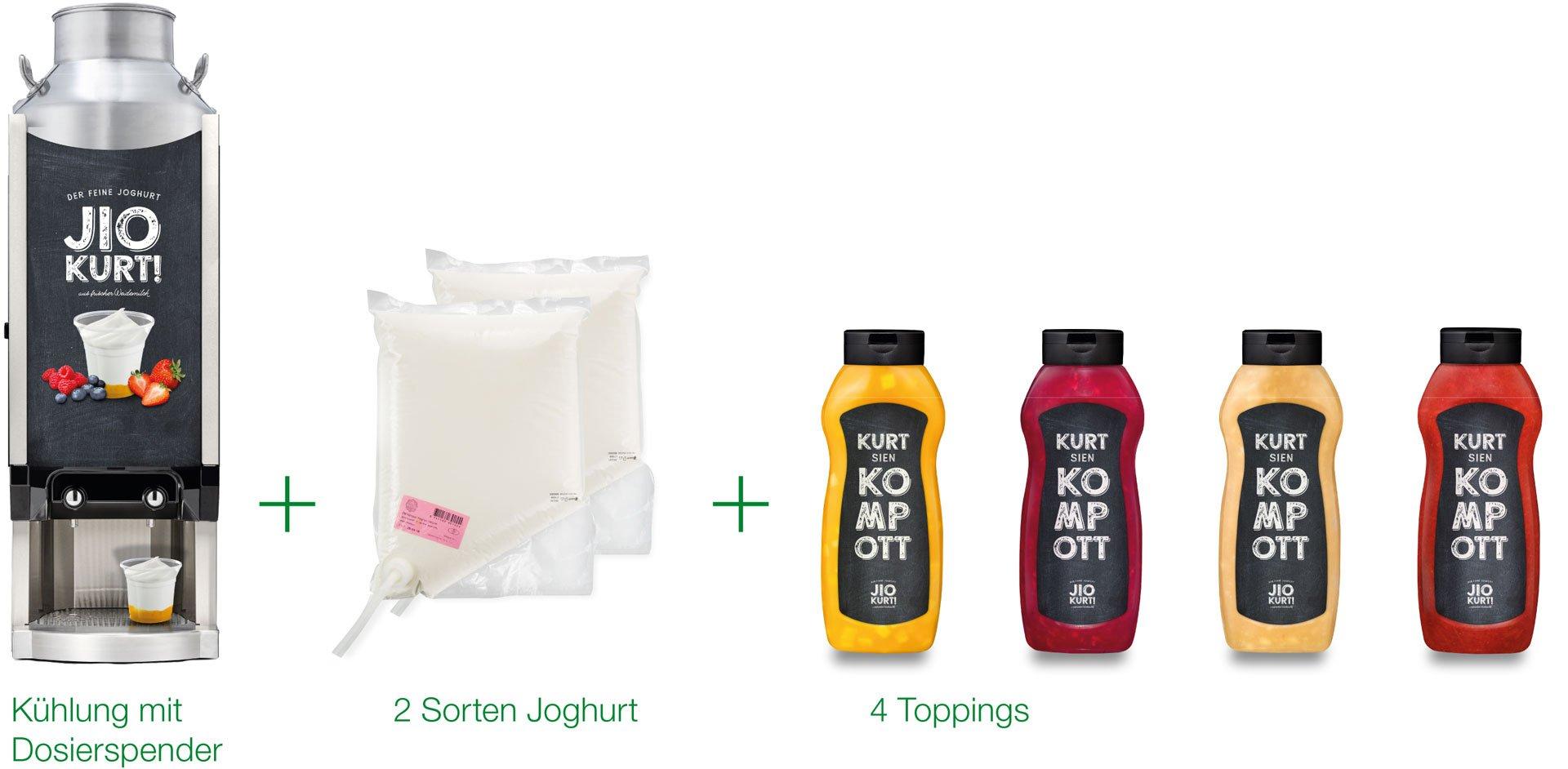 Kühlung mit Dosierspender, 2 Sorten Joghurt, 4 Toppings