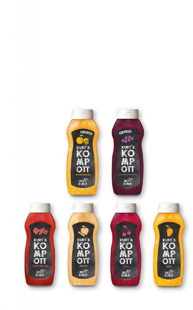 6 verschiedene Fruchtkompotts in der 750 ml Squeeze-Flasche